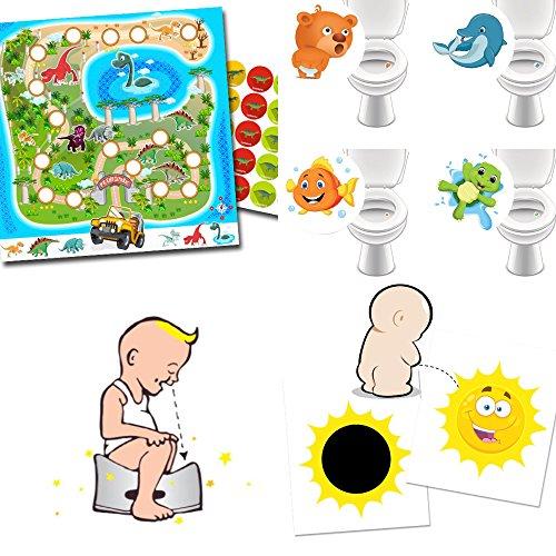 Töpfchen-Trainer mit Zaubersticker Sonne + Toilettensticker Lieblingstiere + Belohnungssystem Dinopark