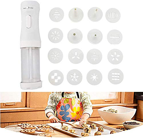 Sagsro Electric Cookie Press Gun Set Cookie Maker Kit for Baking DIY Cookie Maker Kit with 12 Discs and 4 Icing Tips for Holiday Christmas(White)