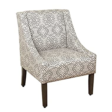 HomePop Modern Swoop Arm Accent Chair, Gray Geomtric, Medium