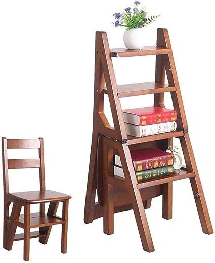 Escaleras de madera maciza 4 escalones Silla Escalera ...