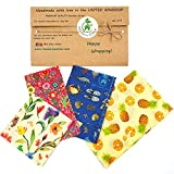 Involucri di cera d'api, set di 4, Colori casuali, BEE Zero Waste,beeswax wraps, UK HANDMADE, Alternativa naturale, Biodegradabile, senza plastica, regalo ecologico