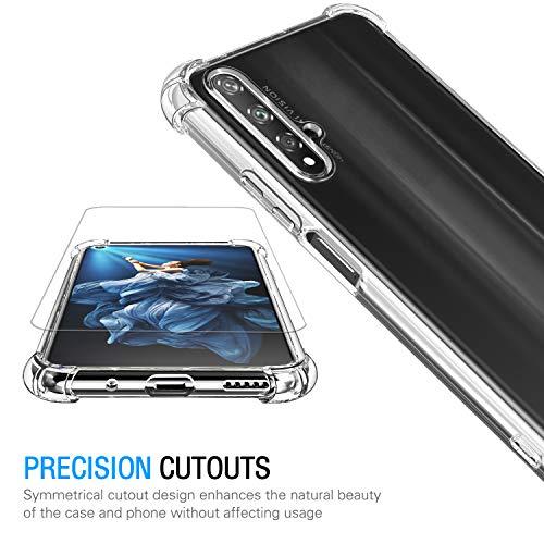Hülle für Huawei Nova 5T / Honor 20 + 3X Panzerglas Schutzfolie, Transparent Weiche TPU Silikon Handyhülle Anti-Kratzer Stoßfest Durchsichtig Schutzhülle für Huawei Nova 5T / Honor 20 - 4