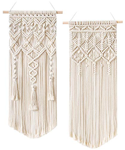 Mkouo 2 Pcs Makramee Wandbehang Boho Deko Chic Gewebte Wandteppich - Schöne Wohnungs-Schlafzimmer-Hochzeit-Apartment-Raumdekoration Home Decor, 71cm (L) x 33cm (W) and 73cm (L) x 33cm (W)