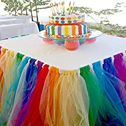 Rainbow Tulle Skirt for Candyland Baby Shower Theme.