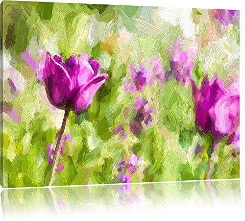 Pixxprint Blumen im Sonnenschein Kunst / 100x70cm Leinwandbild bespannt auf Holzrahmen/Wandbild Kunstdruck Dekoration