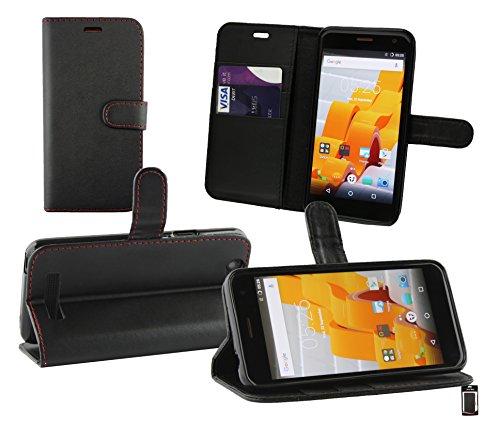 Emartbuy® Wileyfox Spark Plus/Wileyfox Spark Wallet Etui Hülle Hülle Cover aus PU Leder mit Kreditkartenfächern - Schwarz (Rot Stitching)
