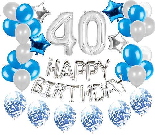 JeVenis 36 PCS Silver Blue 40th Birthday Decorations Artículos de fiesta 40 Globos de cumpleaños Happy Birthday Balloon 40 Decoraciones de cumpleaños