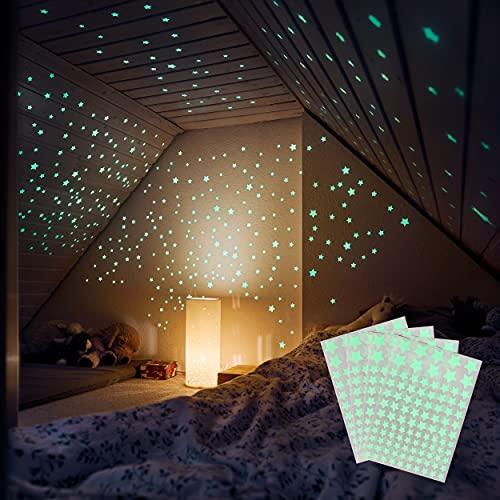 M&A Kids 400 Leuchtsterne selbstklebend in drei Größen – Sternenhimmel für sorglosen Schlaf – Leuchtende Sterne für Kinderzimmer - Leuchtsterne Kinderzimmer