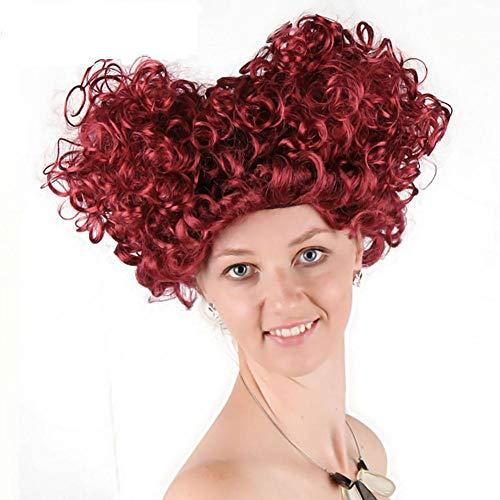 QINXUE Cosplay Kostüm Perücken schlafwandeln Wonderland Königin Victoria Perücke (Wein rot) SyntheticWig