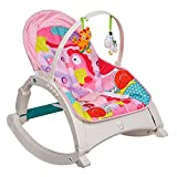 COLOR TREE Rocker Chair for Kids - Toddlers Portable Bouncer Seat for Rocking and Siting - with Hanging Toys - Without Dinner Table, Pink