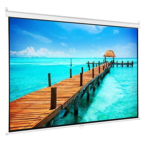 HDDFG 60-84 Pulgadas HD 16: 9 Pantalla de proyector desplegable Manual Pantalla de película de Fibra de Vidrio de Tela Blanca Mate con Bloqueo automático para Cine en casa (Size : 60 Inch)
