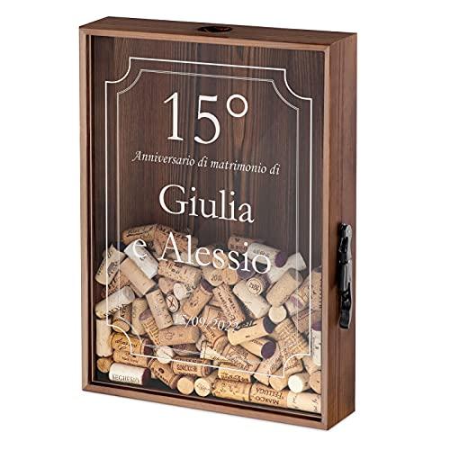 Maverton Raccogli tappi di sughero o birra - con stampa personalizzata - in legno - cavatappi per vino e birra con un coltellino - scatola porta tappi - idee regalo - anniversario