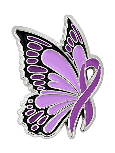 PinMart Domestic Violence Awareness Butterfly Purple Ribbon Enamel Lapel Pin