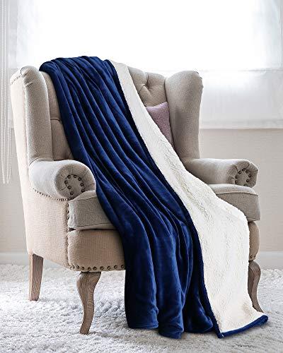 Utopia Bedding Mantas Reversibles de Franela Sherpa (150 x 200 cm) - Azul Marino - Tela de Cepillo Extra Suave, Súper cálida, Mantas para sofás acogedora y Ligera, Cuidado fácil