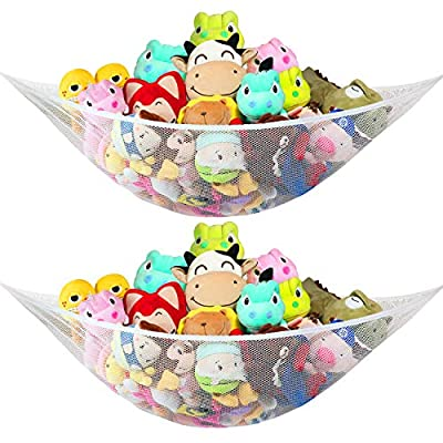 Jumbo Stuffed Animal Hammock, Toy Storage Organizing Net for kids Plush Toys, Expands To 65 inches, Extra Large, Great Decor for Baby Nursery Bed Room, Corner Mesh Organizer, 2 Pack