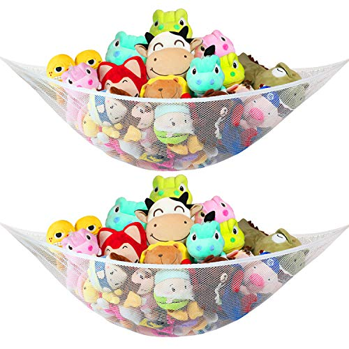 Jumbo Stuffed Animal Hammock Toy Storage Organizing Net for kids Plush Toys Expands To 65 inches Extra Large Great Decor for Baby Nursery Bed Room Corner Mesh Organizer 2 Pack
