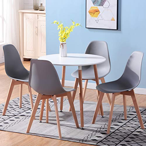 Uderkiny A Tavolo da Pranzo Rotondo e 4 sedie in Stile Nordico, Piano in MDF e sedie in Stile Nordico, Adatte per ristoranti cucine balconi uffici (Grigio-2)