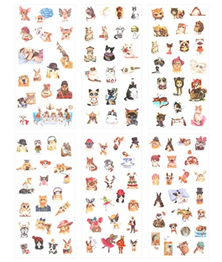 Cute Funny Cat Dog Rabbit Theme Washi Planner Sticker, Decorative Adhesive Sticker, Craft Scrapbooking Sticker Set for Diary, Album, Notebook, Bullet Journal, 12 Sheets/Pack (Fashion Animals)