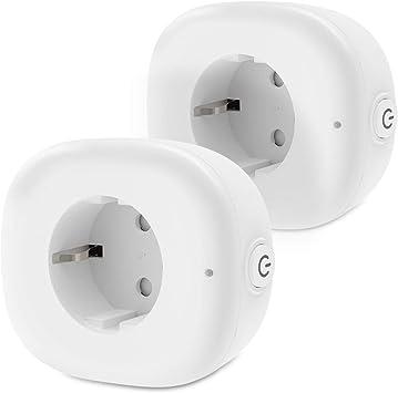OMOTON [2 Unidades] Enchufe Inteligente/WiFi, Enchufe Inalámbrico, Control Remoto, Compatibles con Andriod e iOS (Alex, Goolgle Home, Echo, Echo Dot), ...