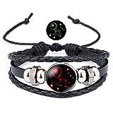 12 Sternzeichen Armband Lederarmband Frauen Herren Nachtleuchtender Anhänger Glas Cabochon Silber Armbänder Kette Verstellbare (Krebs)