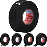 5 Rolls Wire Loom Harness Tape Automotive Heat Resistant Fabric Wire Harness Tape Black Cloth Electrical High Temp Tape Width 1/3 Inch to 1.25 Inch (50 Foot)