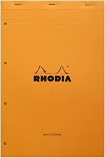 Rhodia 119700C - Bloc-Notes Agrafé N°119 Audit Orange - A4+ - Pré-Imprimé Multicolonnes - 80 Feuilles Détachables Perforat...