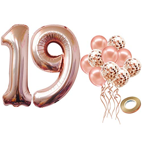 Number 19 Balloon for 19 Birthday Decorations - Rose Gold, Large, 40 inch, Pack of 12 | Rose Gold Confetti Balloons | Rose Gold 19 Number Balloon for 19th Birthday Party Supplies, Girls, Women or Men