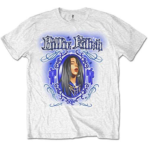 Billie Eilish BILLIETS14MW02 Camiseta, Blanco, M para Hombre