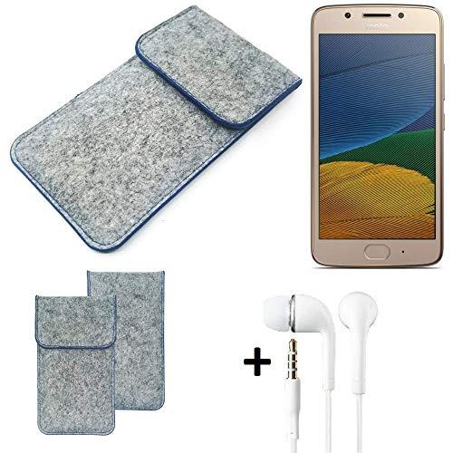 K-S-Trade Filz Schutz Hülle Für Lenovo Moto G5 Dual-SIM Schutzhülle Filztasche Pouch Tasche Handyhülle Filzhülle Hellgrau, Blauer Rand + Kopfhörer