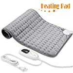"Heating Pad, Electric Heat Pad for Back Pain and Cramps Relief - Electric Fast Heat Pad with 6 Heat Settings -Auto Shut Off- Machine Washable 12"" x 24""."