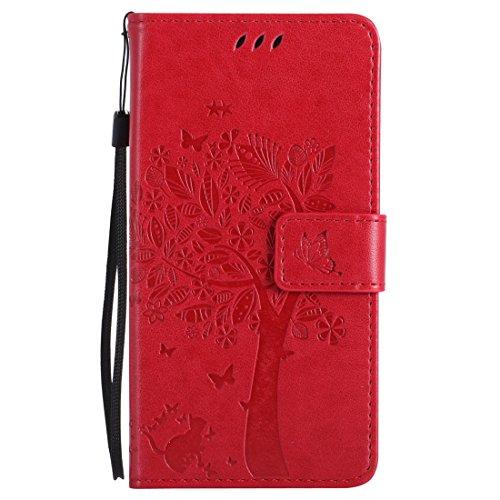 Nancen Tasche Hülle für HTC One M8 (5 Zoll) Flip Schutzhülle Zubehör Lederhülle mit Silikon Back Cover PU Leder Handytasche im Bookstyle Stand Funktion Kartenfächer Magnet Etui Schale