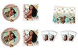 CAPRILO Lote de Cubiertos Infantiles Desechables Vaiana (8 Vasos, 8 Platos(23 cm), 20 Servilletas, 1 Mantel (120 x 180 cm) y 1 Piñata. Juguetes y Regalos para Fiestas de Cumpleaños. L4