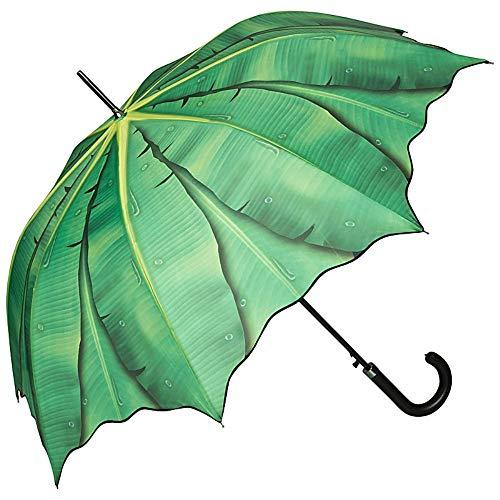 VON LILIENFELD Regenschirm Automatik Damen Herren Motiv Grün Wellenkante Bananenblatt