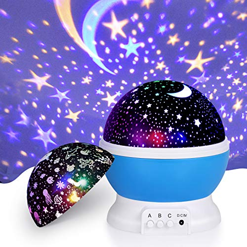 Night Light Projector, Upgraded 2 in 1 Kids Night Light Moon Star Projector and Undersea Lamp, Star Night Light 360-Degree Rotating 8 Colors Projection Lamp for Kids Baby Bedroom Party Decoration