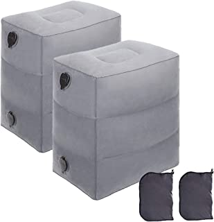 NIUMI Inflatable Travel Foot Rest Pillow | Kids Airplane Bed | 2-Pack Available | Adjustable Height Leg Pillow | Make a Flat Bed for Baby Kids, Toddlers | Great for Airplane, Train, car (Grey-1 Pack), pvc, Grey-2 Pack, Middle