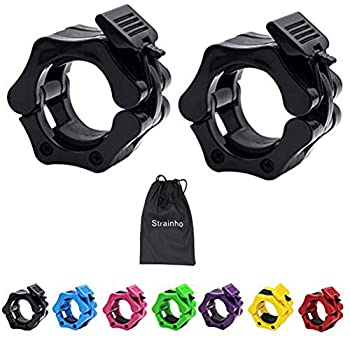 Strainho Olympic Weight Bar Clips - 2 inch Barbell Collars - Quick Release Olympic Barbell Clamp for Weightlifting Olympic Lifts and Strength Training  Black