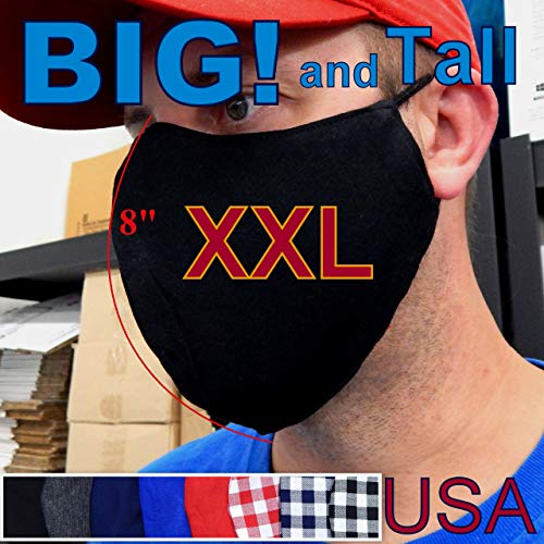 GemStorm XXL Extra Large 7' or 6.5' [ Your Color Choice ] Big and Tall 3D 3 Layers Cloth adult Men Face Mask Cotton Fabric with nose wire Pinch Filter Pocket + adjustable ear [ your Choice ]