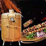 DJLOOKK Griglie a Carbone Portatili, griglia per Barbecue a carbonella con Coperchio e griglia, Ventilazione Regolabile, griglia per Fumatori combinata per Campeggio, Picnic e Balcone, Dorata