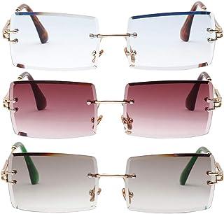 Hellery - 3X Gafas De Sol Sin Montura Vintage para Mujer Gafas De Lentes Teñidas De Diseño Clásico