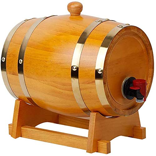 JTYX Barril de Roble de 3 litros Barril de Whisky de Roble Dispensador de Barril de Vino de Madera para almacenar Cerveza Whisky Ron Port Mini Barril de Vino