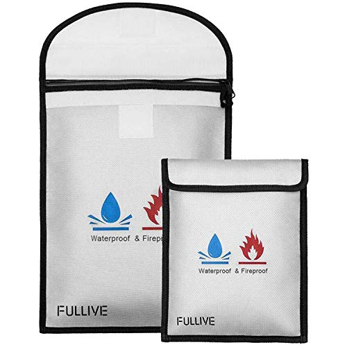 "Fireproof Document Bag - 15""X11"" Fireproof Safe Bag, 7""x9"" Money Pouch Envelope, Non-Itchy Silicone Coated File Storage, Waterproof Document Holder, Money Bag with Zipper"