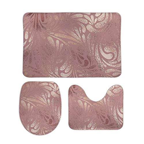 ZHONGJI Bathroom Rug Sets Bath Mat Toilet Seat Cover Rose Gold Pink Extra Soft Coral Fleece Absorbent Non Slip Machine Washable Lined Sponge 3 Piece