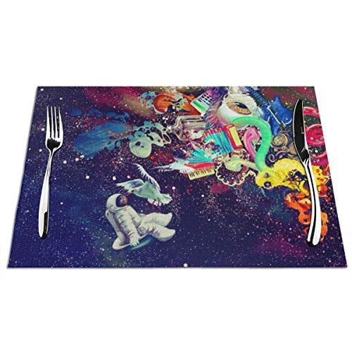 N/A - Manteles individuales de vinilo para mesa de comedor, juego de 1 mantel de PVC con aislamiento térmico (1 unidad, espacio psicodélico Trippy Astronaut Space)