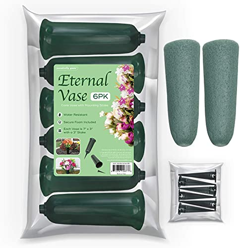 Essentially Yours Memorial Floral Vases with Foam Included - (6 Pack) | Outdoor In Ground Vases with Stakes, for Fresh and Artificial Flowers