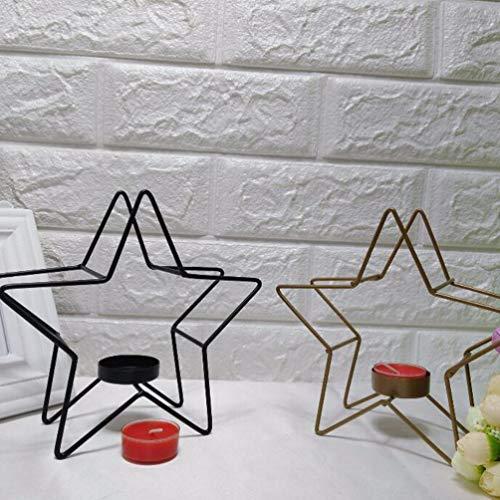 Mobestech Geometrischer Metall-Kerzenhalter Pentagramm Sternform Schmiedeeisen Kerzenhalter Votiv-Teelichthalter für Homd Party Dekoration Tischdekoration, Eisen, Schwarz, 17 * 16.5CM