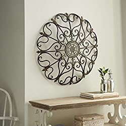 """Vintage Style Round Copper Metal Wall Decor w/ Fleur de Lis Accents, Copper and Gold Metal Wall Art, Fleur de Lis and Quatrefoil 3D Wall Art, 29"""""""