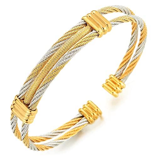 COOLSTEELANDBEYOND Ajustable Brazalete Pulsera de Hombre Mujer, Acero Inoxidable, Cable de Acero, Plata Oro Dos Tonos