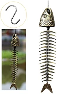WANLIAN Fish Skeleton Wind Chime,Fishbone Wind Chime,Wind Chimes Vintage Fishbone Pattern Door Hanging Bells Outdoor Yard