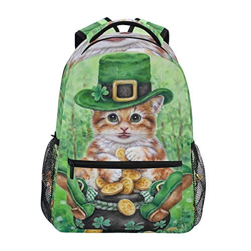 FANTAZIO Rucksack, extra groß, süßes Katzen-Kleeblatt Muster Tagesrucksack