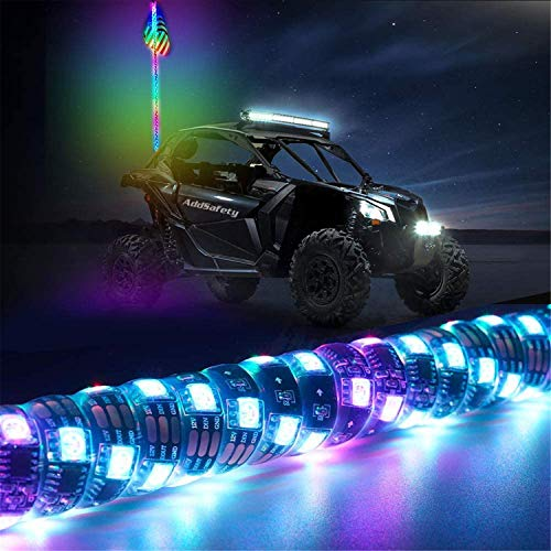 N \ A Luces de látigo LED, látigos iluminados en Espiral RGB con Control Remoto con luz de señal de Giro de Freno inverso Luz de Antena LED de persecución, 2FT 3FT 4FT